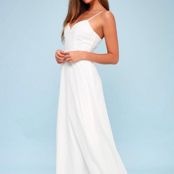 fce7dde0f4e Lulu s Dresses   Skirts - Lulu s Faithfully yours White lace maxi dress